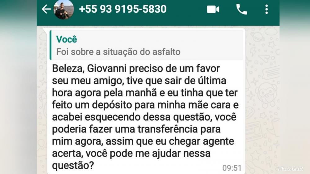 Mensagem enviada pelo estelionatário, em nome do delegado de Oriximiná. (Foto: Reprodução/Redes Sociais)