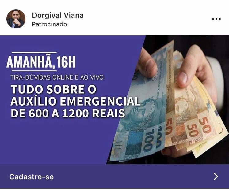 Advogado Dorgival Viana faz live para tirar dúvidas sobre auxílio emergencial de R$ 600 a R$ 1200 reais