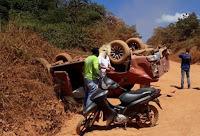 Uruará: Motorista capota caminhonete na ladeira Lambreta KM 192 da BR 230