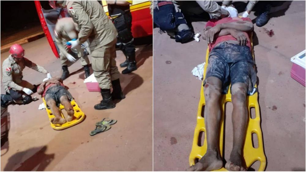 Homem sob efeito de bebida alcoólica caí da moto. (Foto: Grupo do Plantão 24h)
